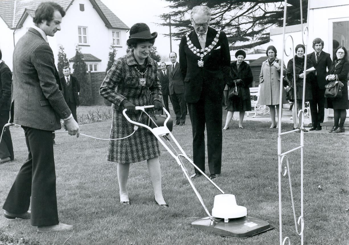 Mayoress trying latest lawn mower