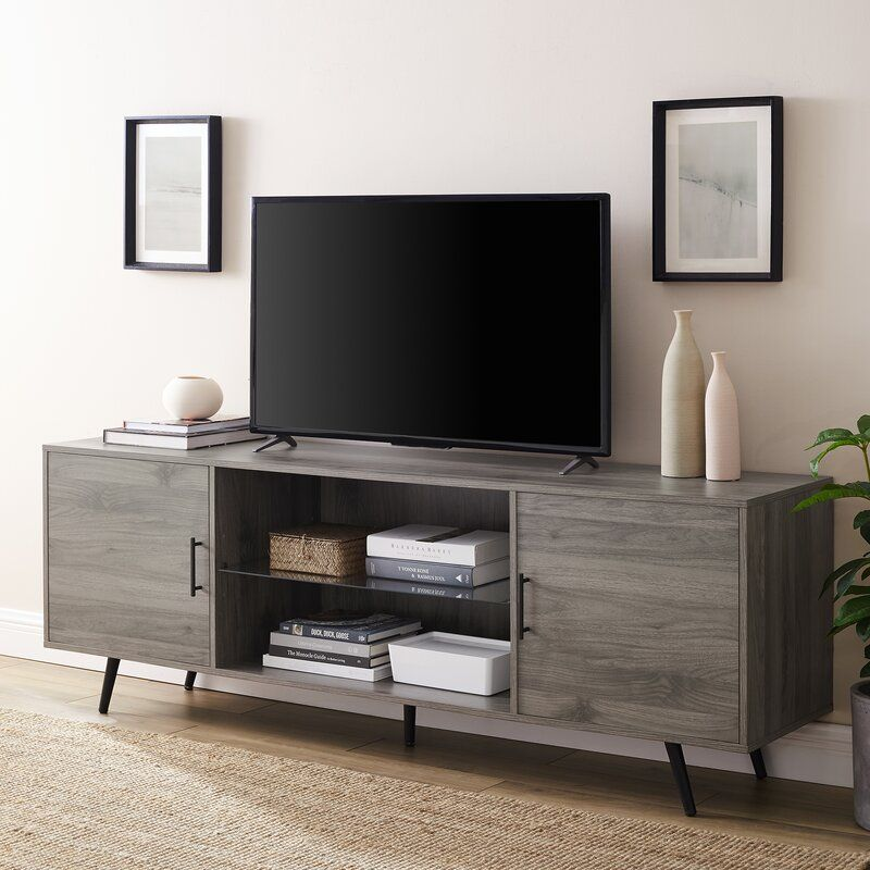 Glenn Tv Stand For Tvs Up To 78 In 2020 Living Room Tv Stand Tv Stand With Glass Shelves Living Room Tv