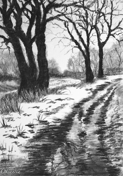 Want To Try Something Like This Landscape Drawings Landscape Pencil Drawings Winter Landscape