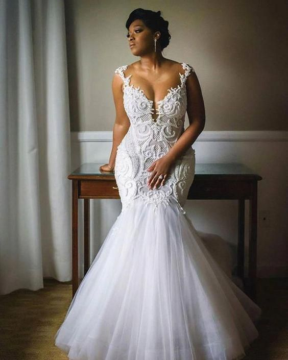 Unique African Wedding Dresses: Sexy Mermaid Wedding Dresses Crew Neck Lace Pearls South