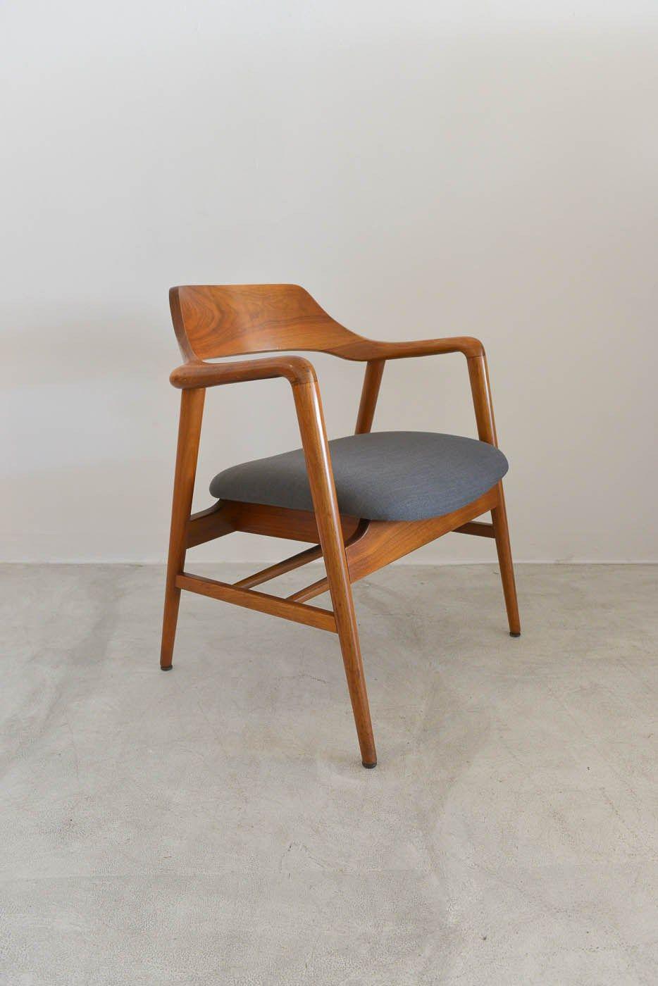 Sold Solid Walnut Sculputed Chair By Gunlocke Chair Mid Century