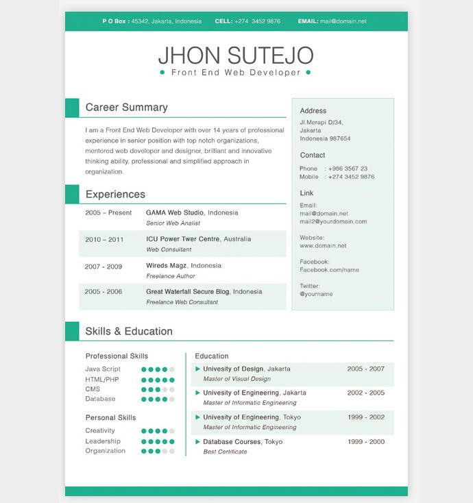 Good 28 Free CV Resume Templates ( HTML PSD U0026 InDesign ) | Web U0026 Graphic Design  | Bashooka