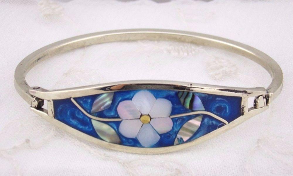 Alpaca Silver Bangle Bracelet Enamel Shell Flower Fashion Jewelry NEW Handmade #TesorosHandmade #bangle