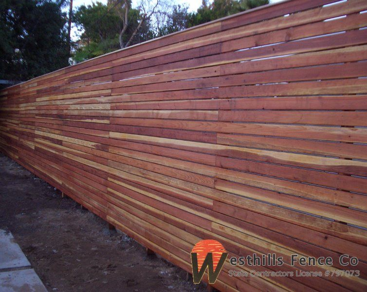 Horizontal 1x4 Redwood Fence