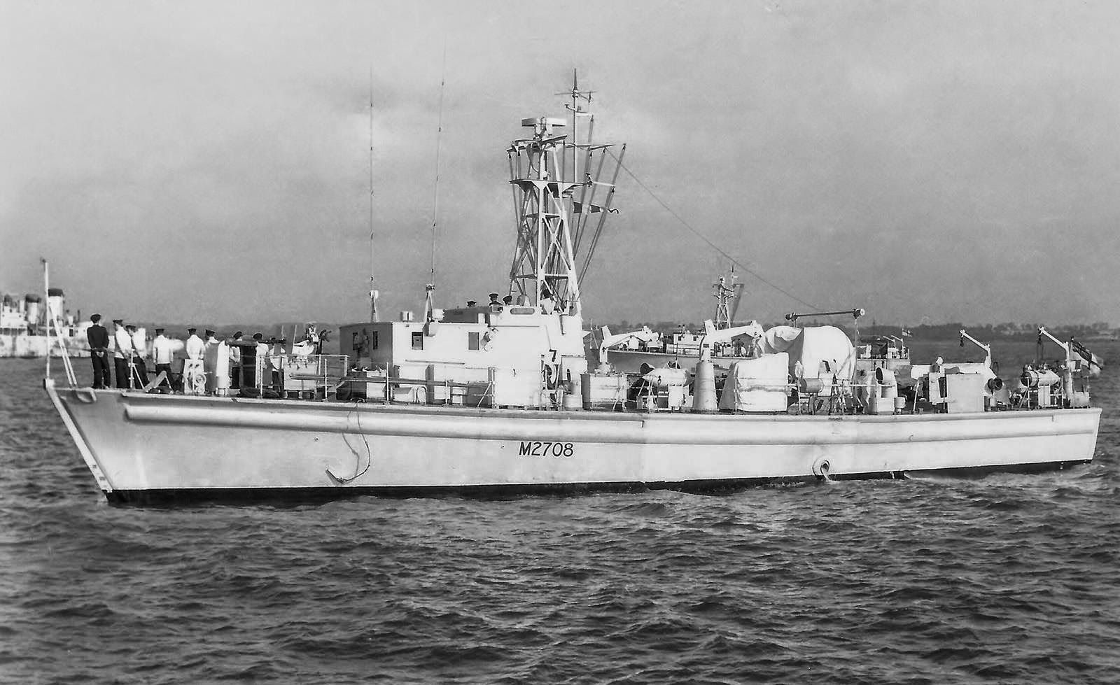 HMS Ludham(M2708) a Ham class Minesweeper an inshore minesweepers (IMS), known as the Type 1, .The class was designed to operate in the shallow water of rivers and estuaries. The parent firm responsible for supervising construction was Samuel White of Cowes, Isle of Wight. Unlike traditional minesweepers, they were not equipped for sweeping moored or magnetic mines. Their work was to locate individual mines and neutralise them. The class consisted of 93 ships, launched between '54 & '59