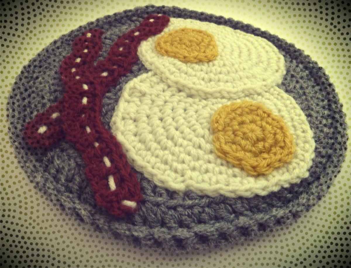 Free Eggs & Bacon Potholder Crochet Pattern