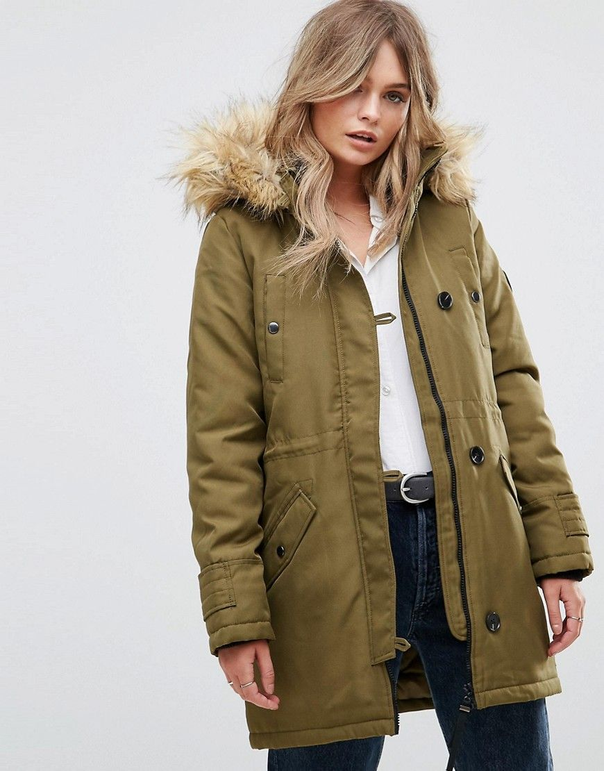 956b7f258ea9 Vero Moda Faux Fur Hooded Parka - Green | Shop the look products ...