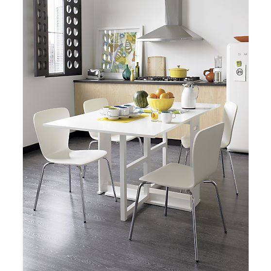 Span White Gateleg Dining Table In Dining Kitchen Tables  Crate Endearing Barrel Dining Room Chairs Decorating Design