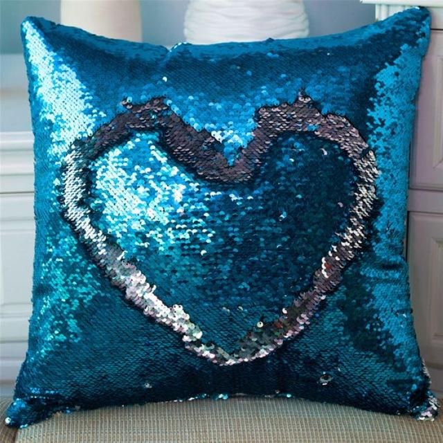 Two Tone Glitter Reversible Sequin Magical Color Changing Pillows Decorative Pillow Cases Sequin Throw Pillows Magic Pillow