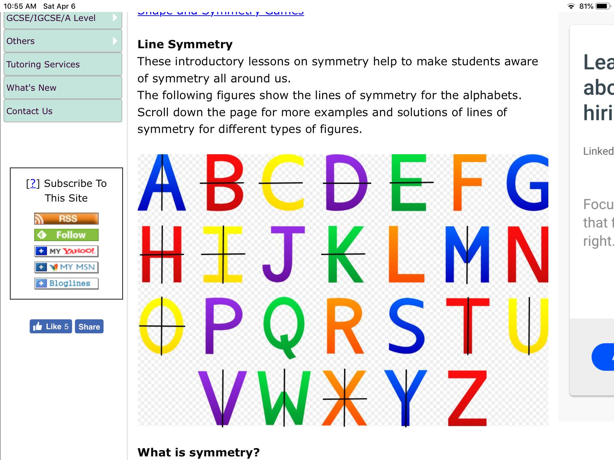 Using The Alphabet To Show Line Symmetry