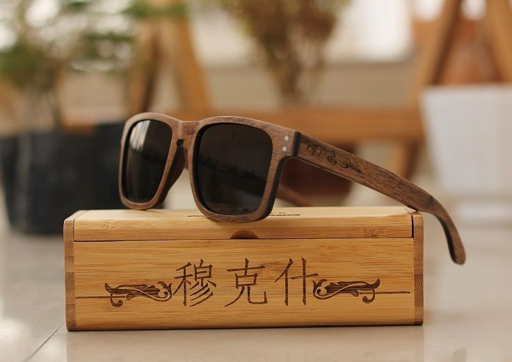 10b86999fd The Navigator Rectangle Sunglasses made of walnut wood. woodgeek lets you  customize your sunnies with