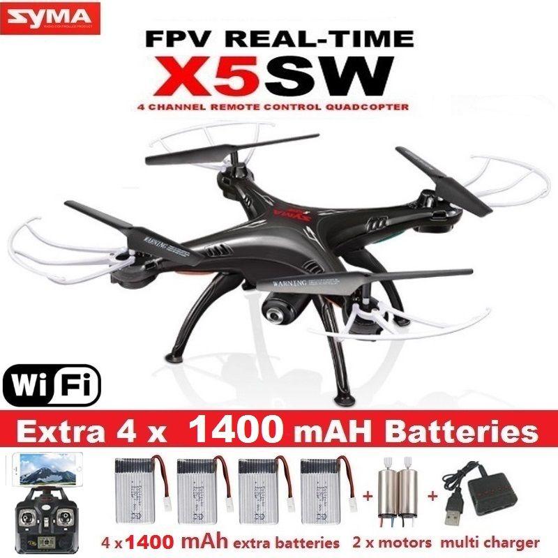 Syma x5sw fpv 드론 x5c 업그레이드 와이파이 카메라 실시간 비디오 rc 쿼드 콥터 2.4 그램 축 quadrocopter 5 배터리