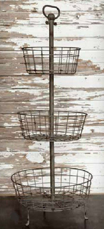 Super Utility Piece Makes A Statement Anywhere You Use It Measuring Just Shy Of 3 Feet Tall Has Wire Baskets Around Center Pole With Top Loop