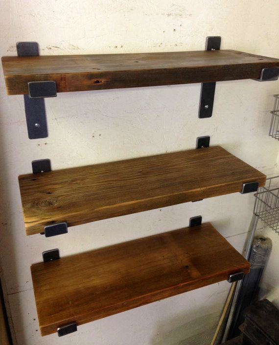 One Reclaimed Wood Shelf 72 X 9 5 With Two Handcrafted Metal