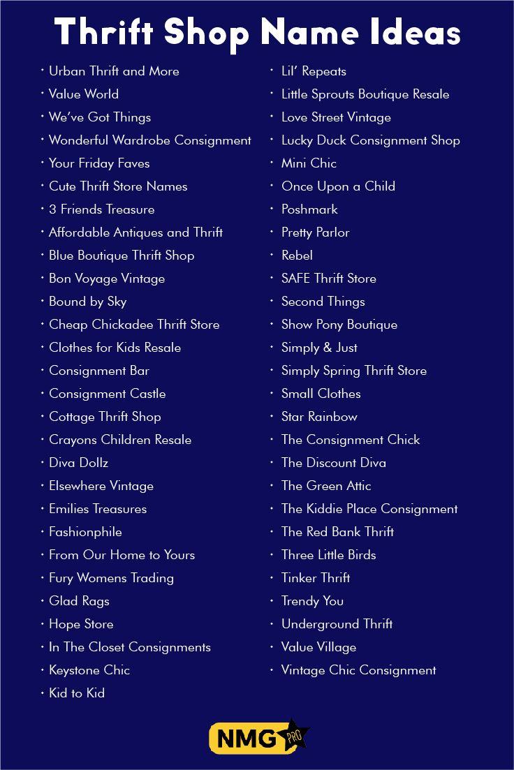 Thrift Shop Name Ideas | Thrift Shop Name Generator | Shop