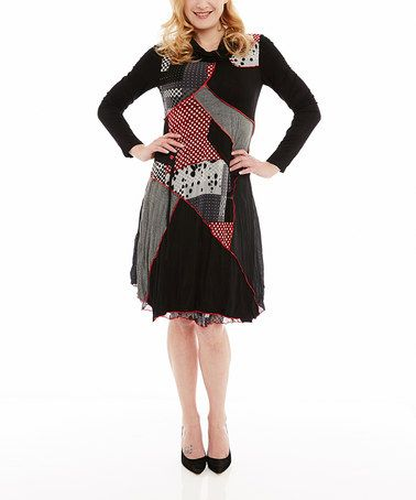 This Red & Black Patchwork Cowl Neck Dress by Miss Nikky is perfect! #zulilyfinds