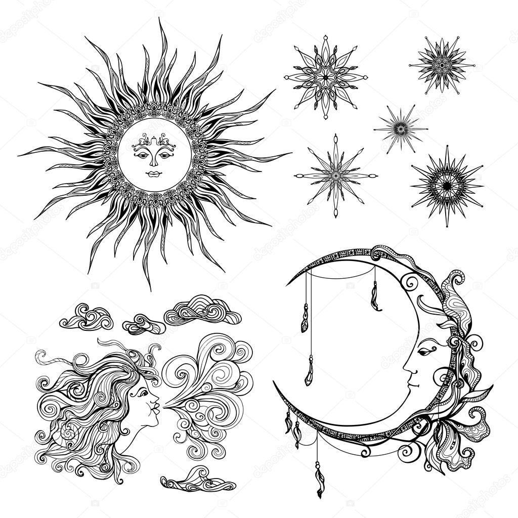 Sterren, maan en Wind — Stockillustratie 89255696 Wind