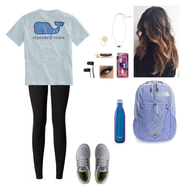 """School tomorrow :(("" by so-not-perfect ❤ liked on Polyvore featuring lululemon, Vineyard Vines, Vera Bradley, NIKE, The North Face, S'well, Casetify, Chapstick and Vans"