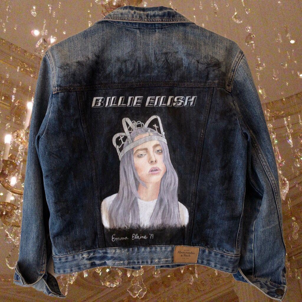 Billie Eilish Custom Denim Jacket Denim Jacket Painted Denim Custom Denim Jacket [ 1024 x 1024 Pixel ]