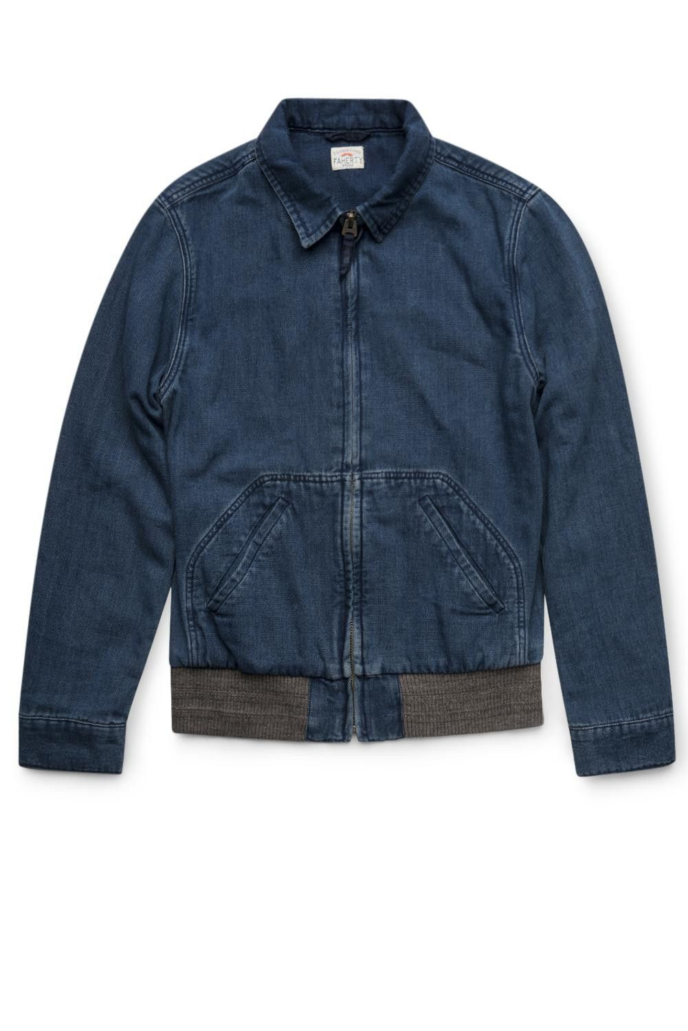Faherty Brand Indigo Canvas Car Coat