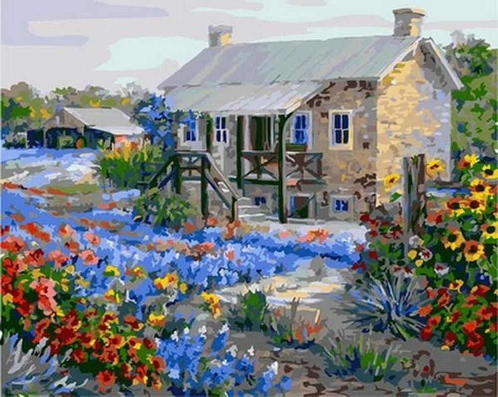 Flowers Sea House Van Go Paint By Number Kit Unbranded In 2020 Paint By Number Kits Painting Paint By Number