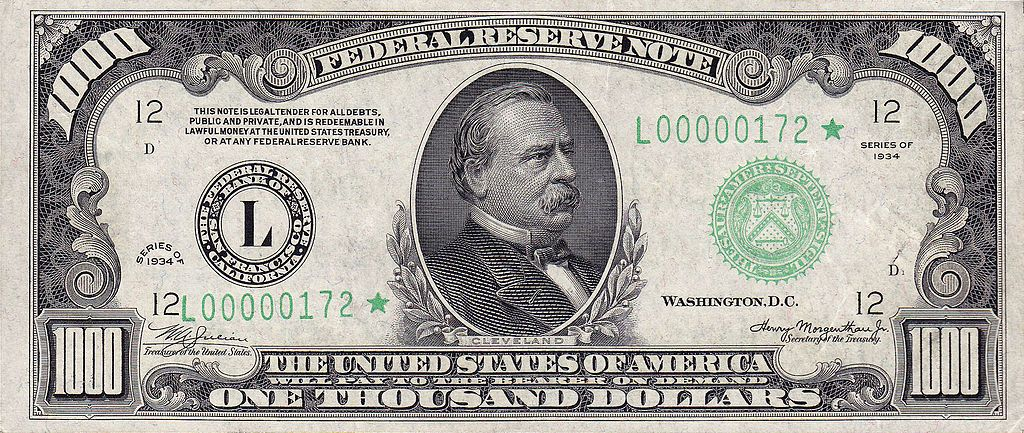 Federal Reserve Note Wikipedia The Free Encyclopedia Thousand Dollar Bill 1000 Dollar Bill Money Notes