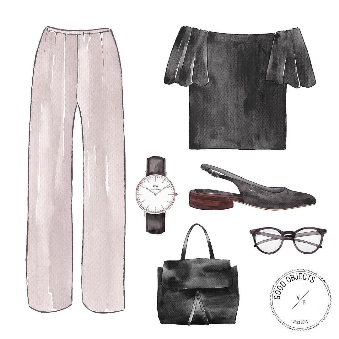 Good objects - Friday outfit #goodobjects #watercolor #illustration