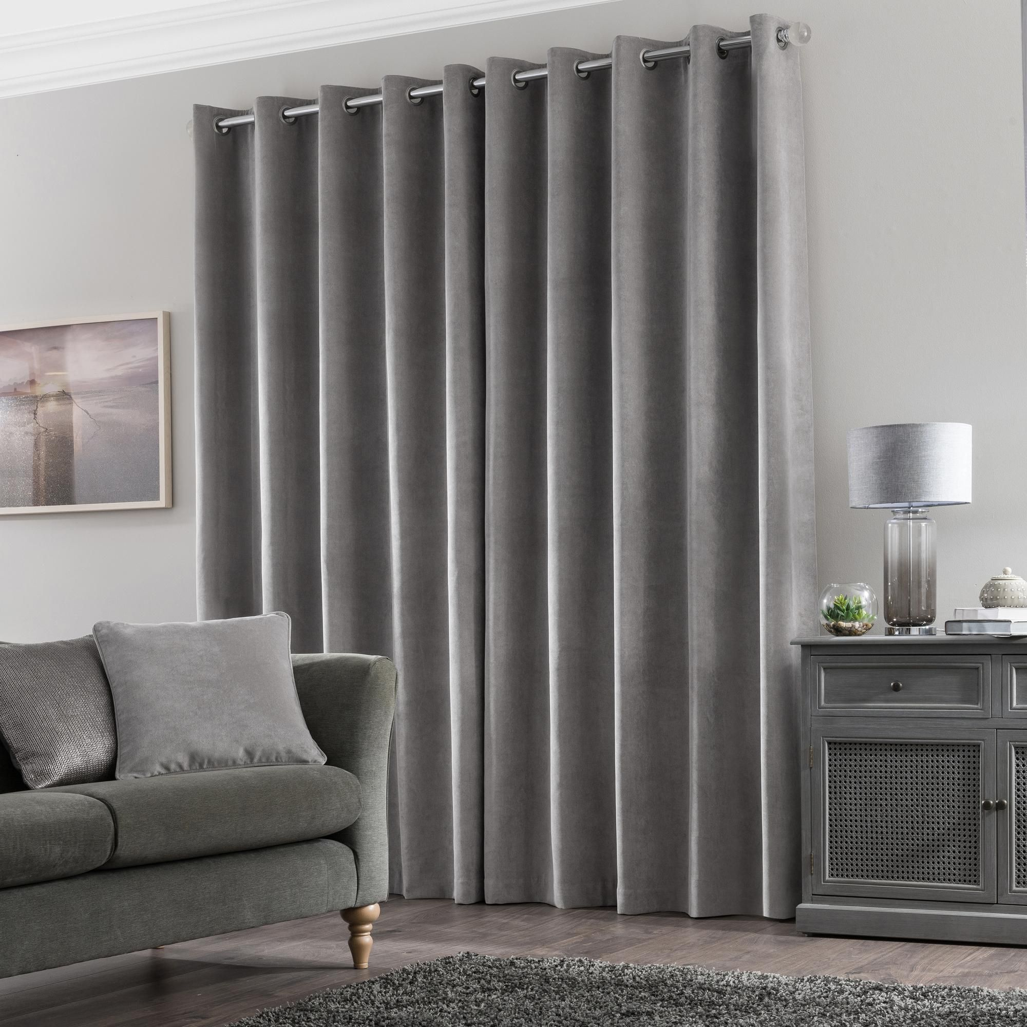 Margot Grey Matt Velour Eyelet Curtains Stylish Curtains Wardrobe Furniture Curtains