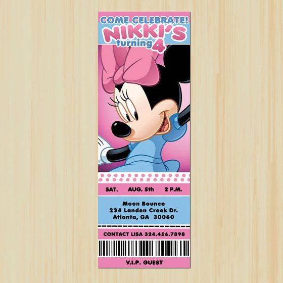 Minnie Mouse Ticket Invitation Customized by ChenillePartyDecor