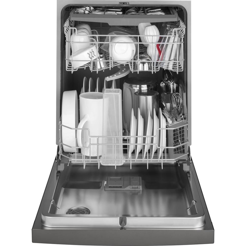 Ge 24 In Slate Front Control Built In Tall Tub Dishwasher 120 Volt With 3rd Rack Steam Cleaning And 50 Dba Gdf640hmmes The Home Depot Built In Dishwasher Steel Tub Doors Interior