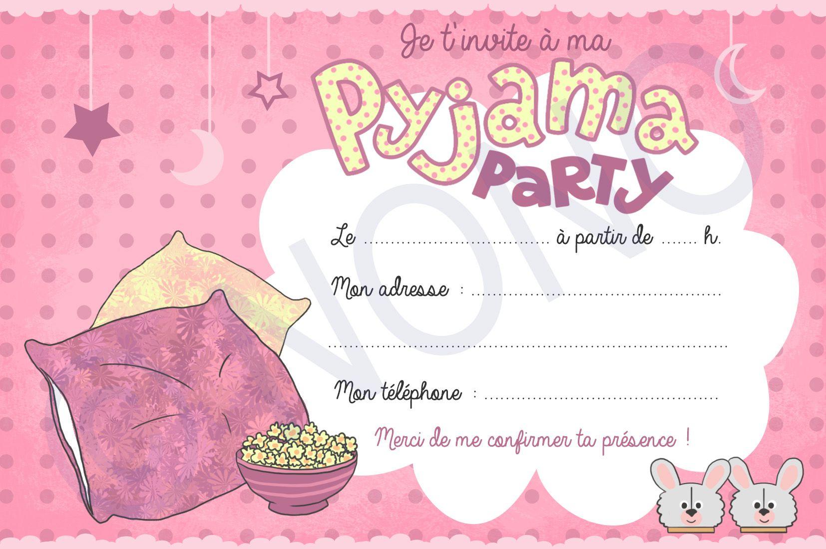 carte d invitation soirée pyjama à imprimer Afficher l'image d'origine | Soirée pyjama, Carte anniversaire à