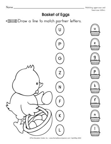 A Super Sweet Spring Worksheet That Requires Kiddos To Match Uppercase And Lowercase Letters A Freebie From Preschool Lessons Easter Preschool Easter Lessons Preschool letter matching worksheet
