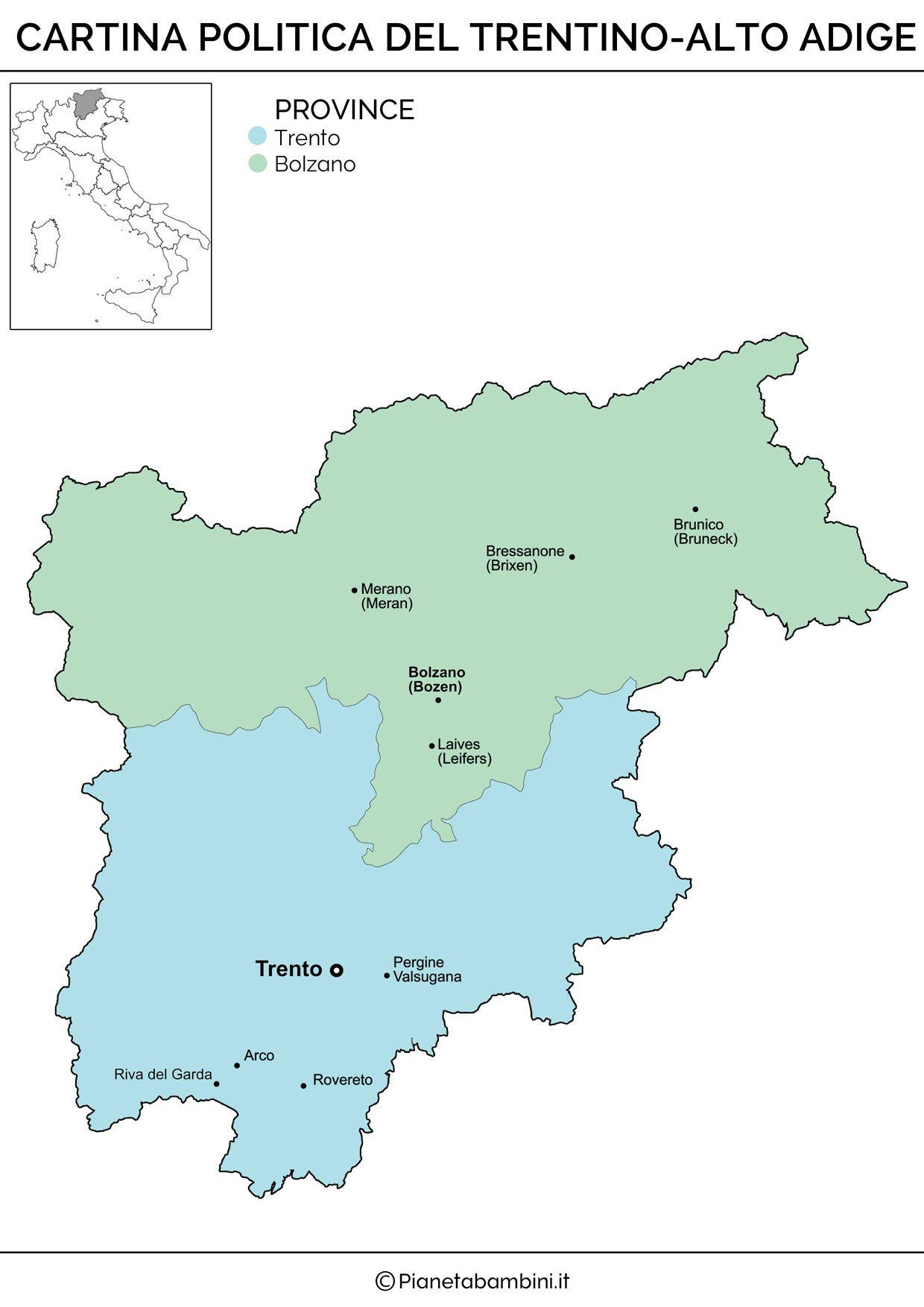 Cartina Muta Del Trentino Alto Adige Da Stampare.Cartina Muta Fisica E Politica Del Trentino Alto Adige Da Stampare Alto Adige Politica E Geografia