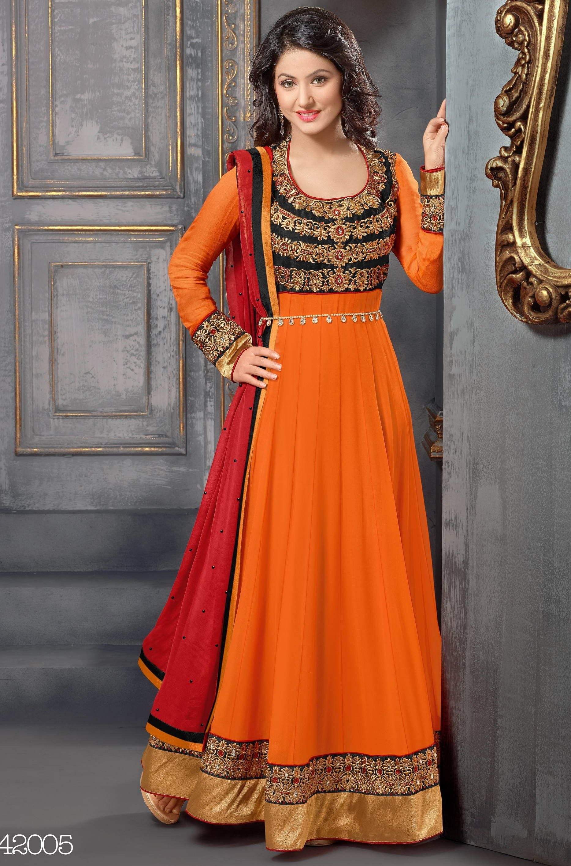 Online Shopping for Hina Khan Orange Designer