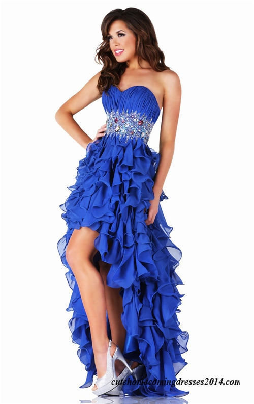 Ruffled Short Front Long Back Royal Homecoming Gown  34d0fcbe94cd