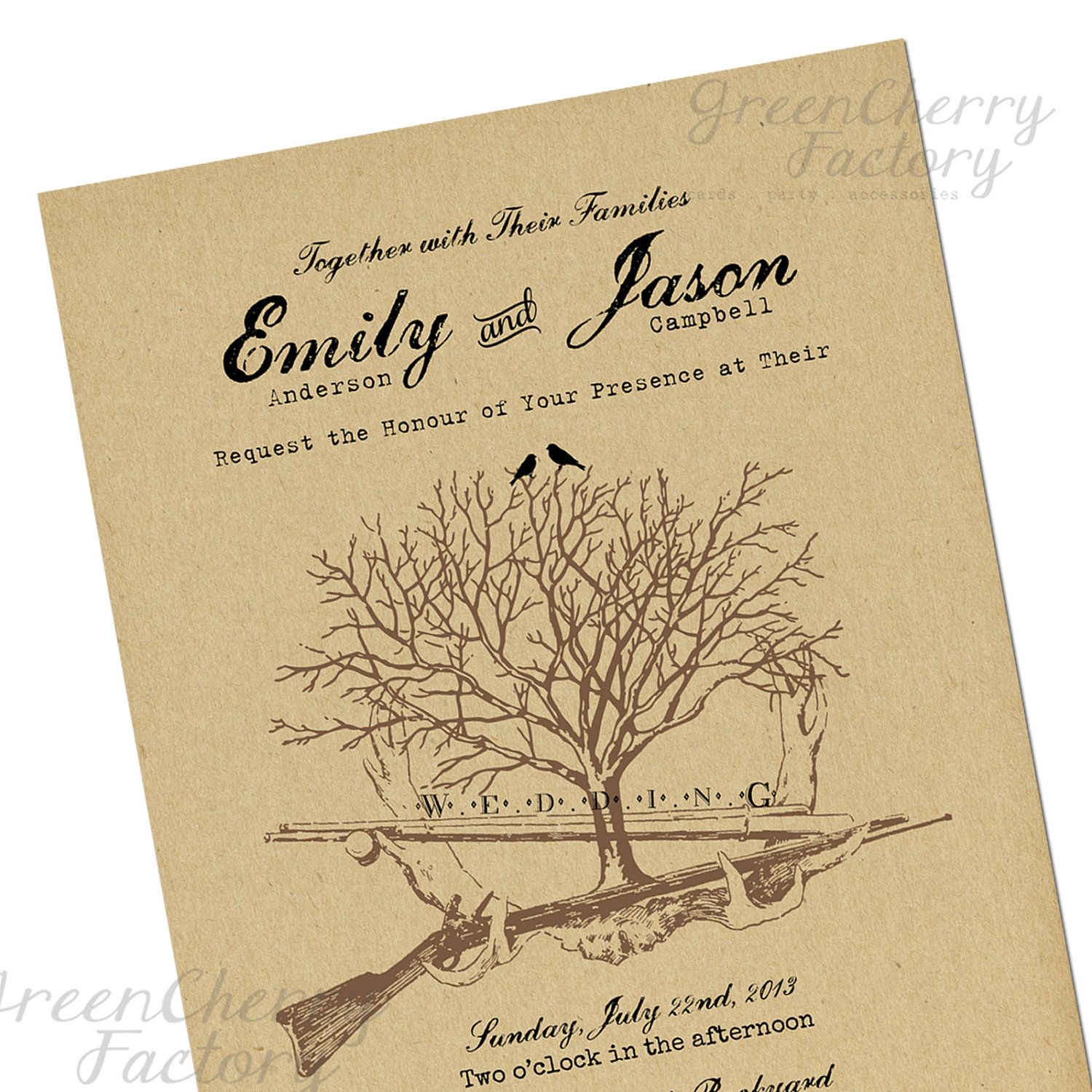 Hunting Wedding Invitations Fishing Invitation Brown Card Stock Background