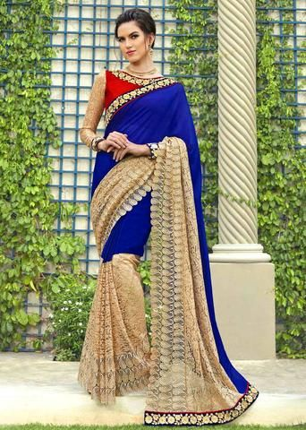 IVimal Fantastic Blue Colored Embroidered Chiffon Net Partywear Saree - 96080