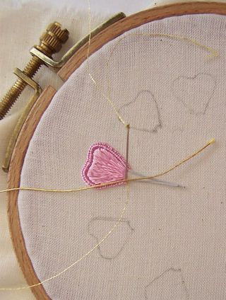 Attaching Gold Threads To The Edge Of Stumpwork Petals Embroidery