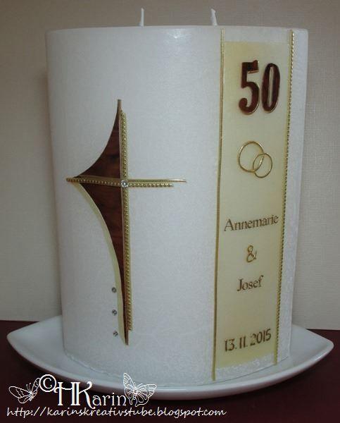 Karins Kreativstube Kerze Goldene Hochzeit Annemarie