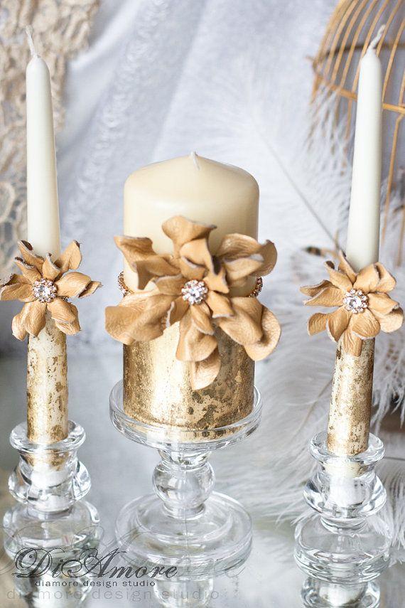 GOLD Ivory Wedding Unity Candle. Set Of 3 Candles. от