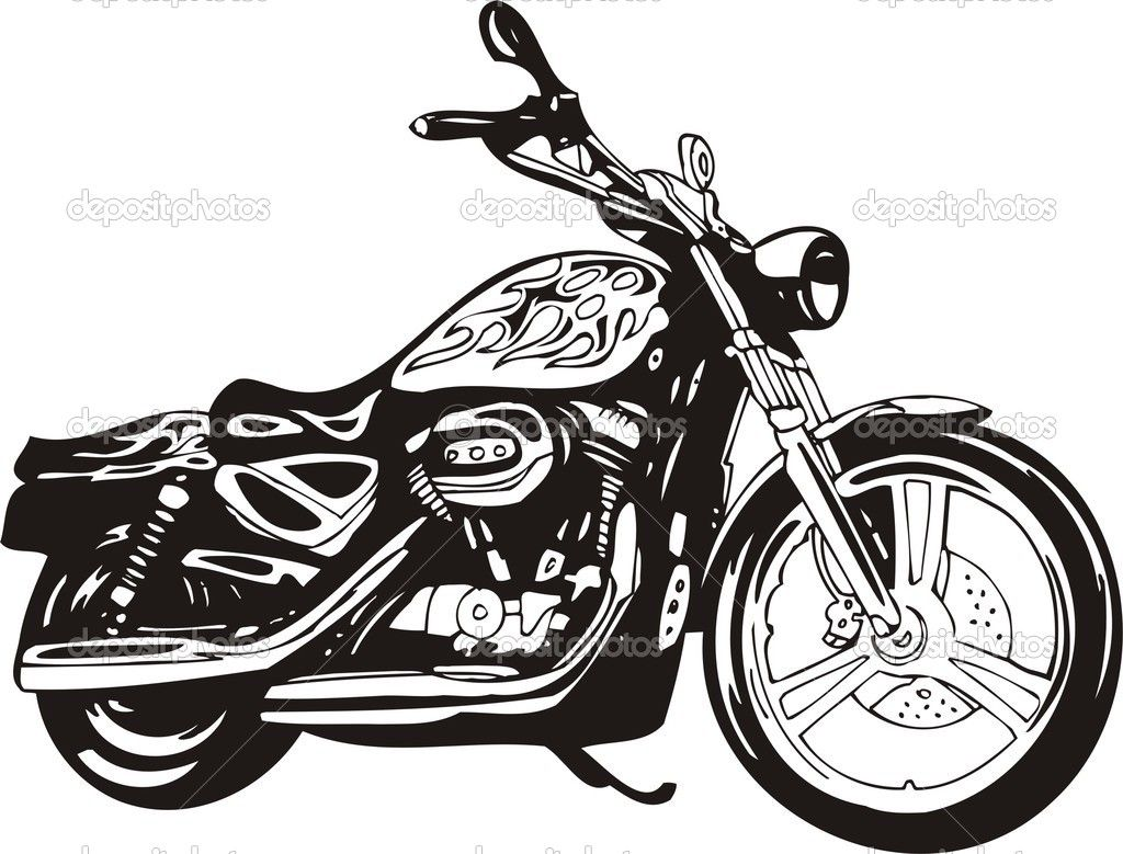 Harley davidson white. Clipart black and baby