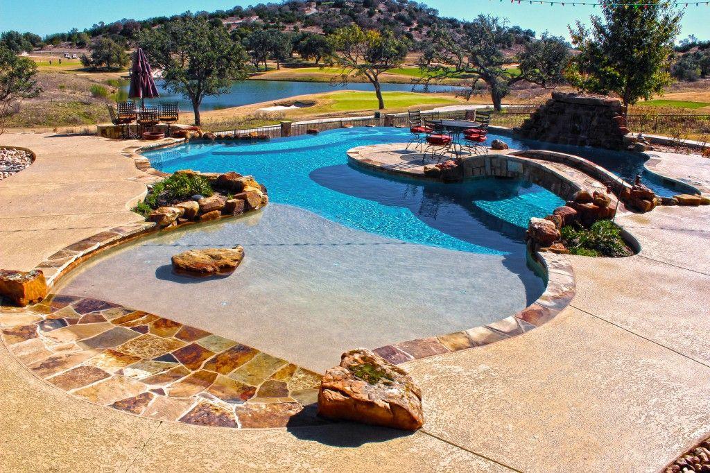 Pool designs freeform geometric vanishing edge cody for Pool design austin