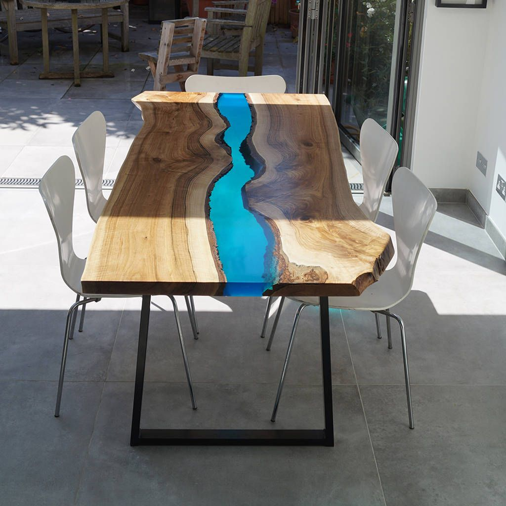 Resin River Dining Table Dining Table Oak Table Live Edge