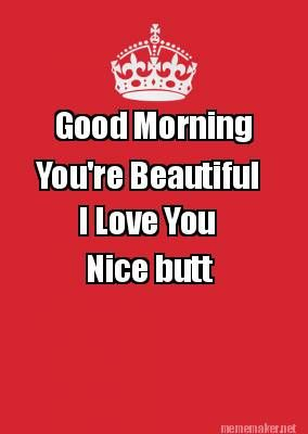 1000968a126e6986aaa5492973c5beee good morning youre beautiful i love you nice butt humor