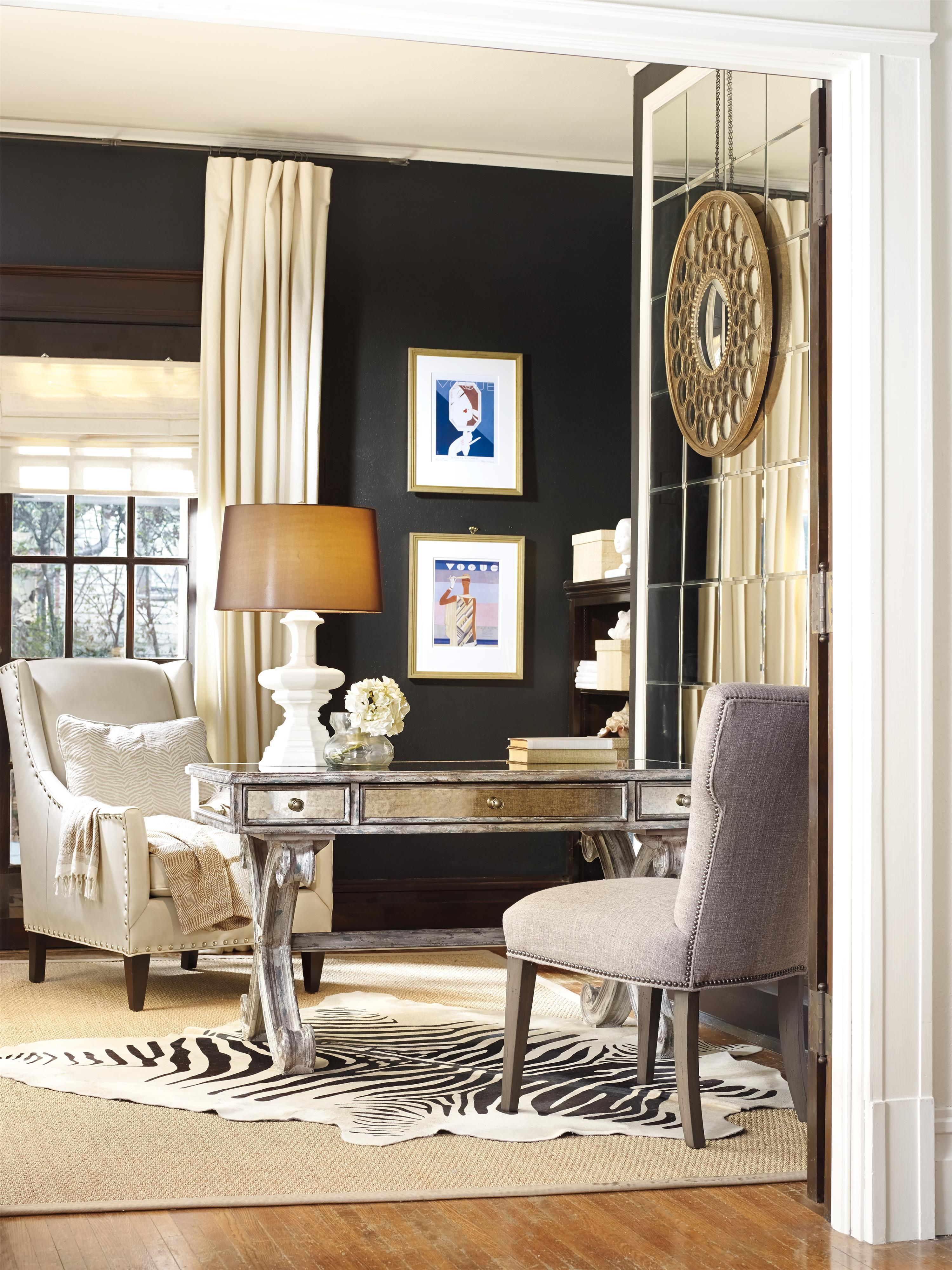 Hooker Furniture Home Office Mirrored Writing Desk With 3 Drawers   Gardiner  Wolf Furniture   Table Desk Baltimore, Towson, Pasadena, Bel Air,  Westminster, ...