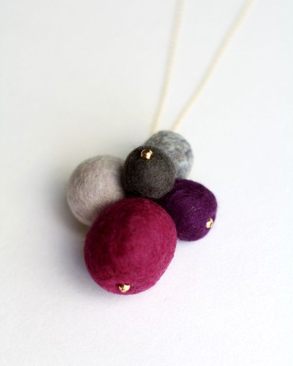 Items similar to Berry Gold Felted Necklace on Etsy