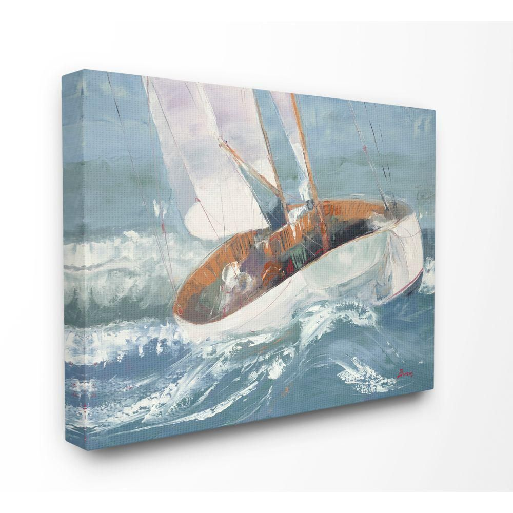 Stupell Industries Sailboat Sea Slopes Ocean Blue Brown Beach Painting By Third And Wall Canvas Wall Art 48 In X 36 In Cwp 407 Cn 36x48 The Home Depot