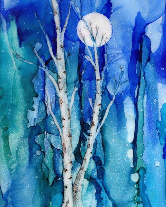 Alcohol Ink Print - 8x10 or 5x7.- White Birch Trees with Full Moon #alcoholinkcrafts