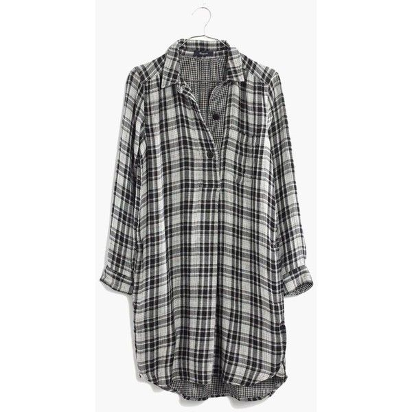 MADEWELL Latitude Shirtdress in Kemp Plaid (€62) ❤ liked on Polyvore featuring dresses, tops, shirts, long sleeves, almost black, plaid dress, plaid shirt dress, black dress, black plaid dress and madewell dresses