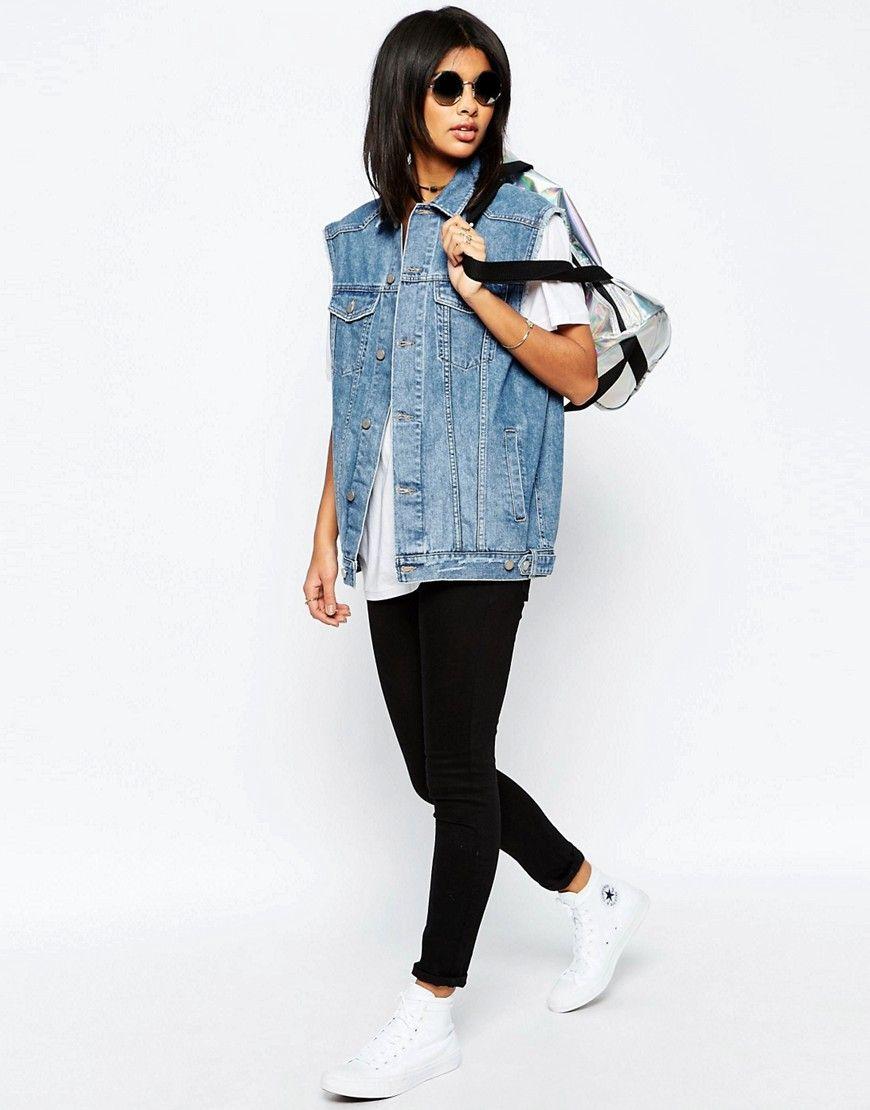 Immagine 4 di ASOS - Gilet stile girlfriend di jeans blu medio slavato